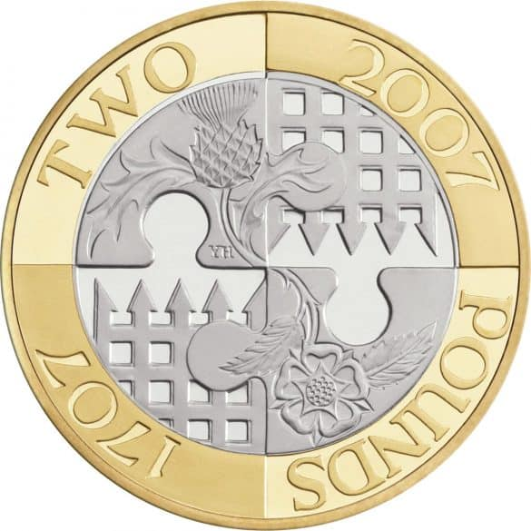act of union 2007 £2 coin