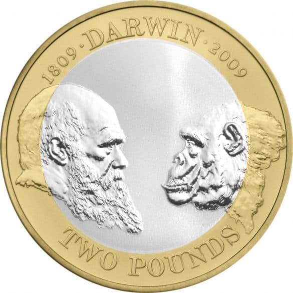 charles darwin £2 coin