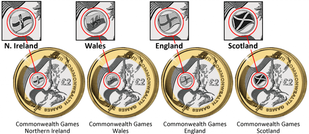 commonwealth games £2 coins home nations