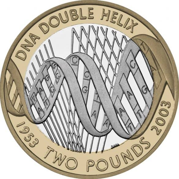 dna double helix £2 coin