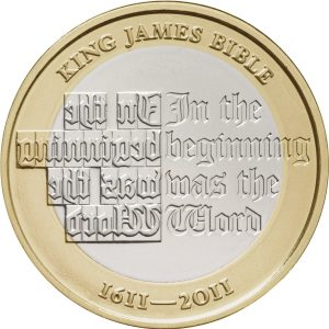 king james bible £2 coin