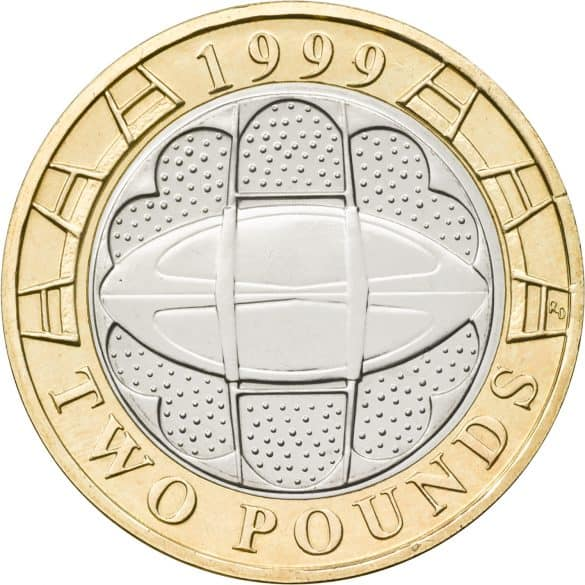 rugby world cup £2 coin
